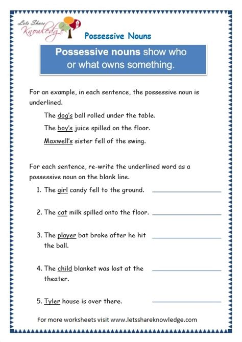Grade Possessive Nouns Worksheets by Article 3 Page 3 Images Gallery