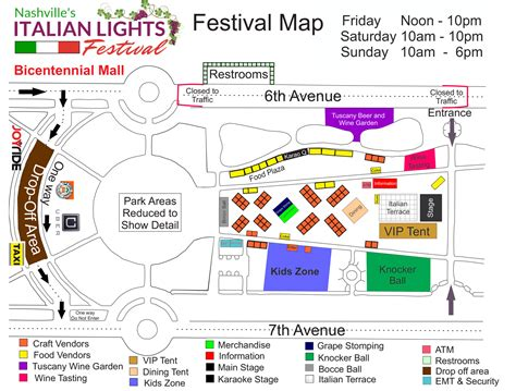 Italian Lights Festival by Festival Grounds Map Free Parking Maps Italian Lights