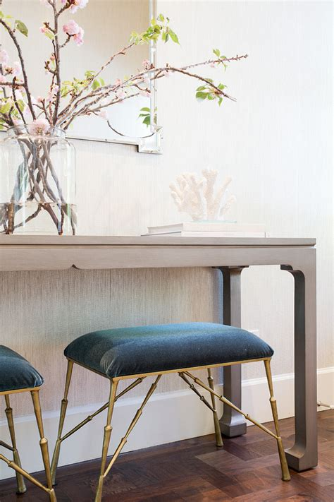 Entryway Table With Stools Underneath Gray Grasscloth Wallpaper Cottage Entrance Foyer