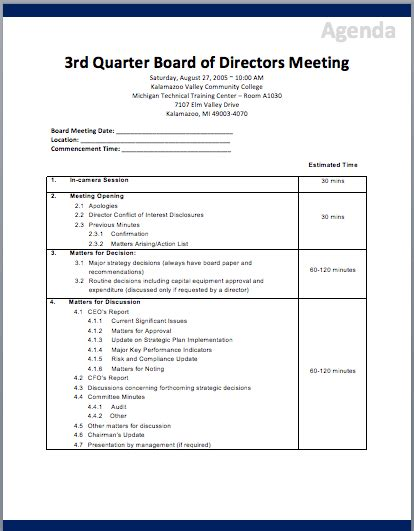 corporate board meeting minutes template board of directors meeting agenda template printable