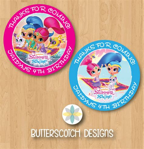 Shimmer For In This New Like Label by Personalized Shimmer And Shine Birthday Thank You Favor Tag Or