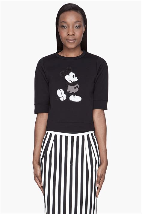 marc black sequined mickey mouse sweater in black lyst