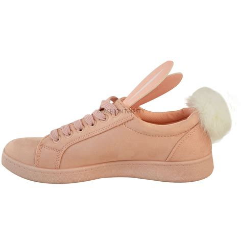Fluppy Soes New Womens Bunny Trainers Sneakers Pom Pom Faux Fur