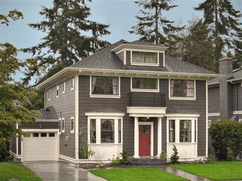 grey house colors dark grey siding thick white trim laurelhurst