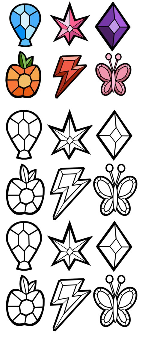 My Little Pony Elements Of Harmony Coloring Pages | elements of harmony gems free by akili amethyst on