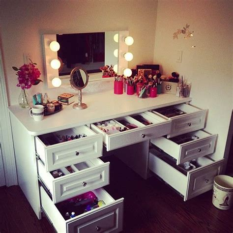 bohemian makeup vanity designs with accent lights
