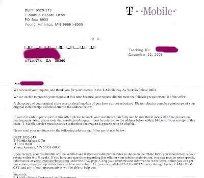 T Mobile Letter Of Credit t mobile rebate runaround has my rebate arrived already