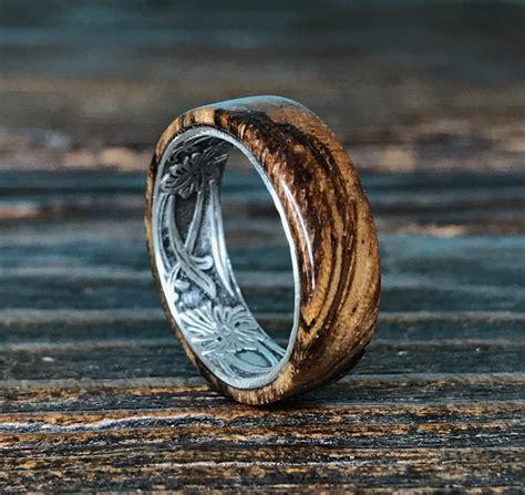 silver ring sterling silver ring wood ring wooden ring