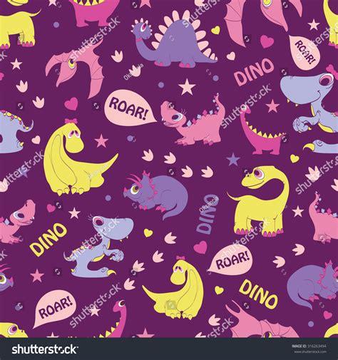 seamless pattern girly vector girly dinosaurs roaring seamless pattern stock