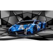 Lamborghini Veneno Super Aerography Car 2014 Blue Colors HD Wallpapers