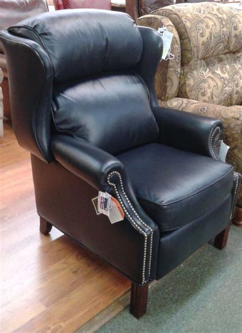 bradington blue leather recliner bradington chippendale reclining wing chair with