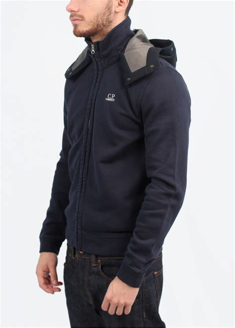 Cp Hoodie Ccc Navy cp company garment dyed goggle zip hoody blue