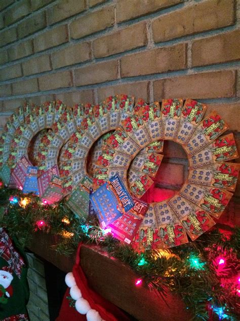 christmas trees decorated with scratch tickets instant lottery ticket wreath for grab bag ideas lottery ticket