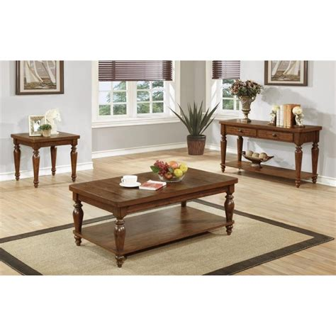 coaster living room 3 pack table set 700385 ernies in coaster 3 piece coffee table set in rustic brown 703578 s3