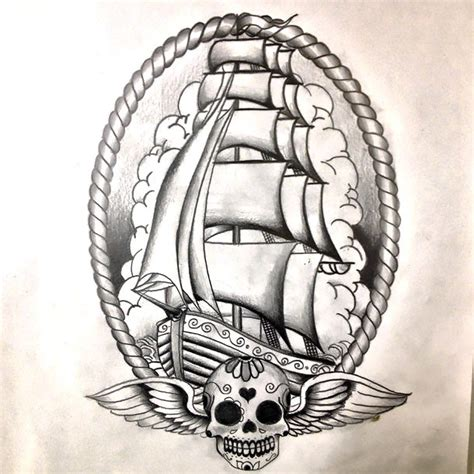 neo traditional ship tattoo design
