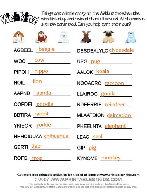 printable christmas word scramble with answers webkinz word scramble answers printables for kids free
