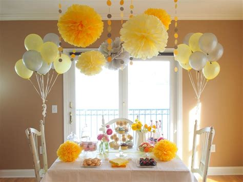 yellow decor yellow party shower diy decoration package pompoms