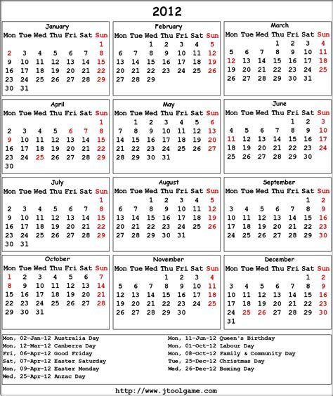 calendar 2012 printable calendar with holiday list