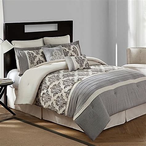 bed bath and beyond warwick bridge street warwick textured cotton linen 8 piece comforter set in natural bed