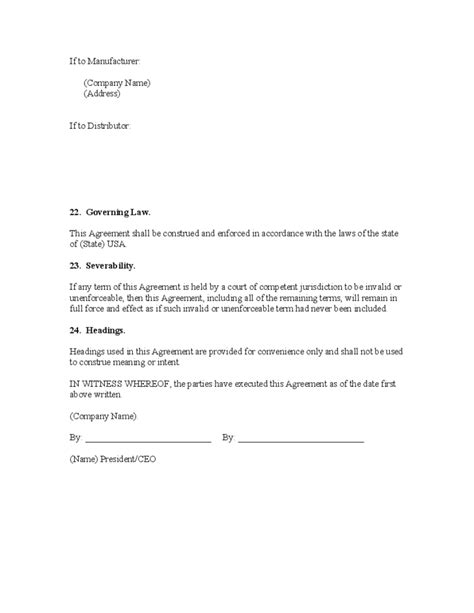 exclusivity letter template exclusive distributorship agreement free