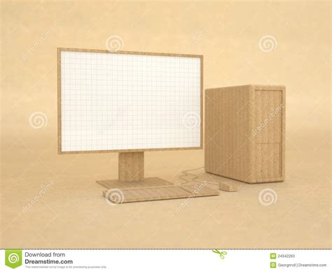 How To Make A Paper Computer - computer model made from recycled paper stock image