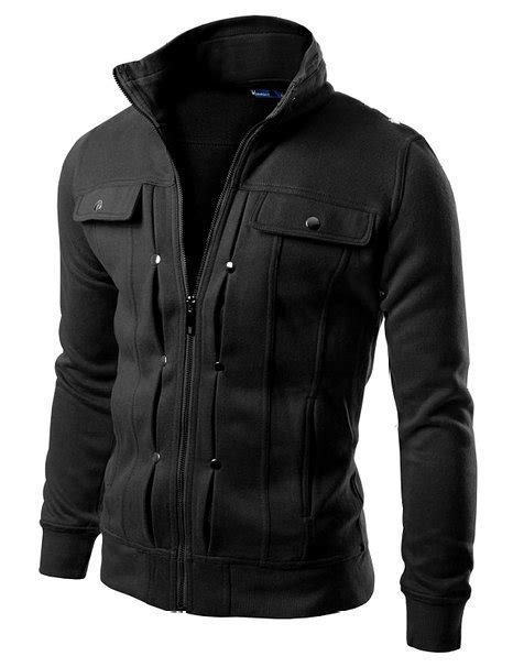 High Neck Zip Jacket doublju mens highneck zip up jacket mens clothing