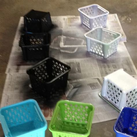spray paint baskets to match classroom theme valspar paint for plastic works great diy