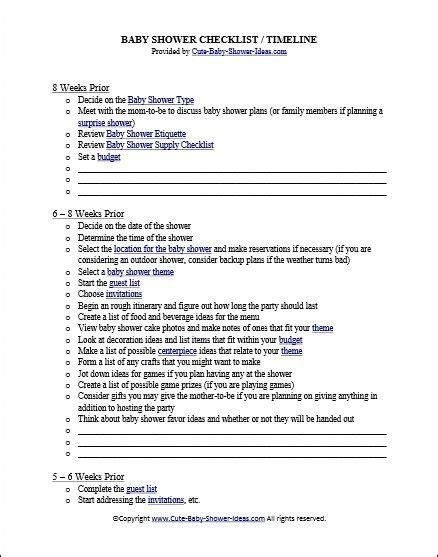 sle baby shower checklist free baby shower checklist timeline baby o baby
