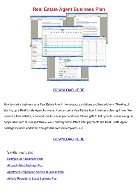 sle business plan real estate agent real estate agent business plan by robert dobrin issuu