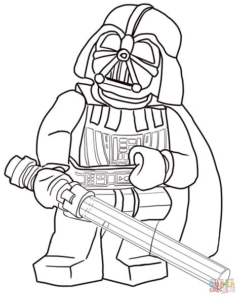 lego star wars darth vader coloring page free printable