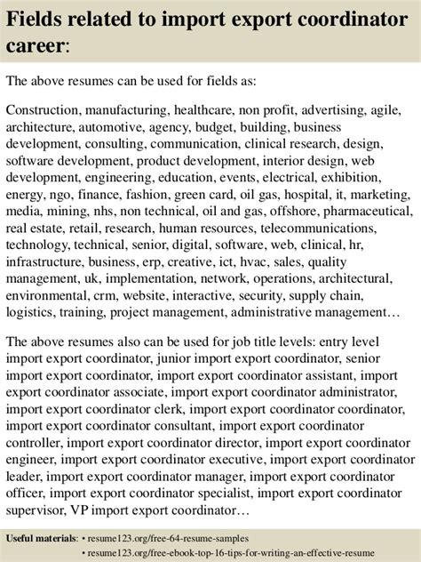 Import Export Coordinator Sle Resume by Top 8 Import Export Coordinator Resume Sles