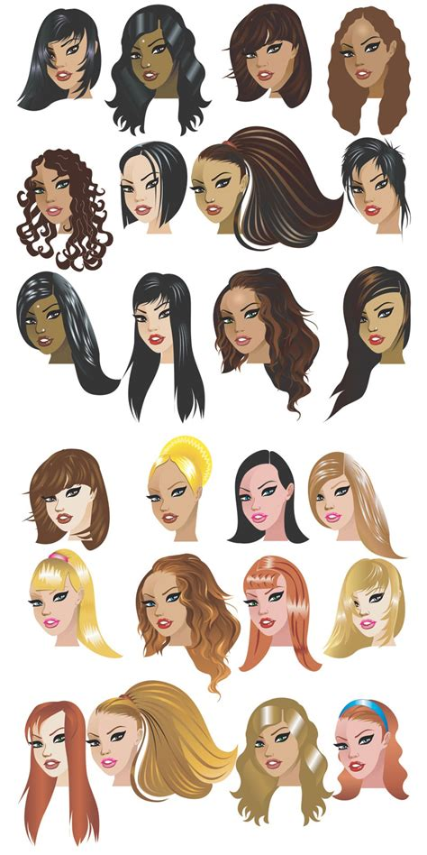 cartoon hairstyles free girls free stock vector art illustrations eps ai