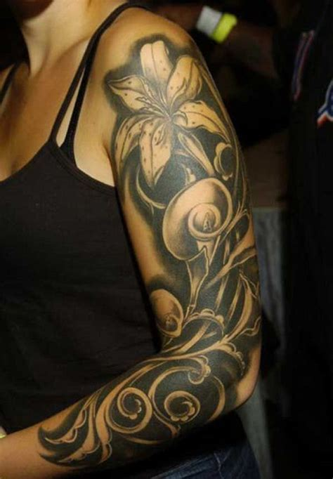 black flower tattoo ideas flower sleeve tattoofanblog