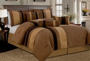 7 pc modern brown comforter set micro suede cal king size