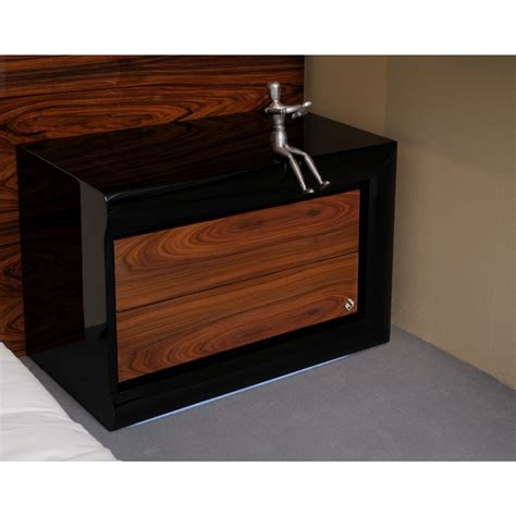 Black Bedside Tables With Drawers by High Gloss Walnut And Black Bedside Table With 2 Drawers