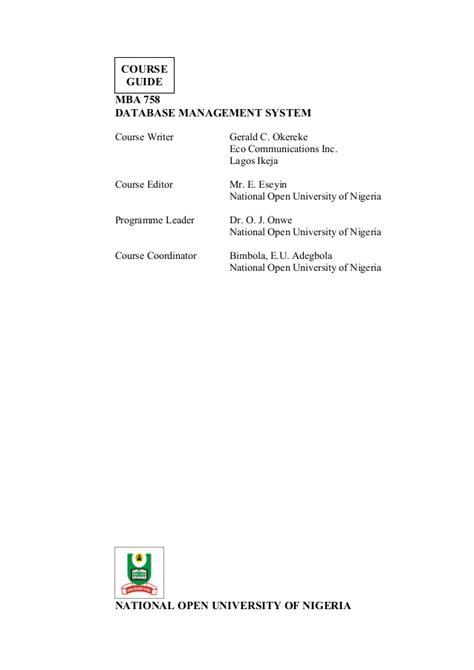 Management System Mba Pdf by Mba 758 Database Management System