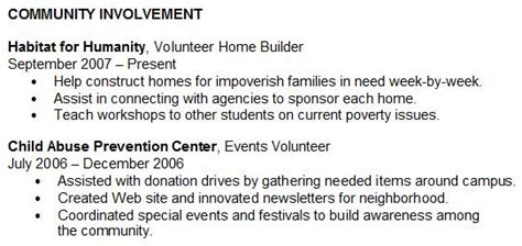 Community Service Involvement Letter Optional Resume Section Community Involvement