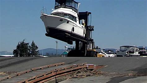 big boats are called 32 carver boat pulled out of water by forklift youtube