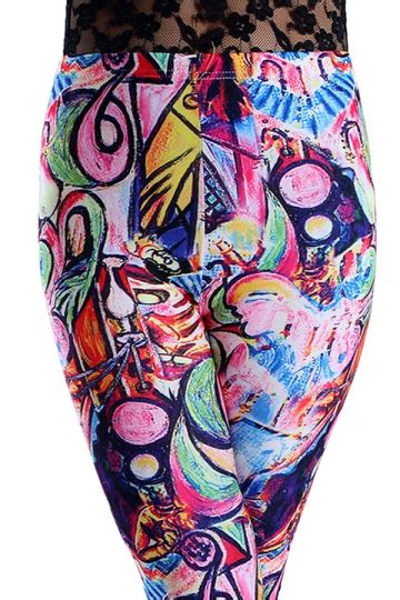 Kaos T Shirt Wanita Import Blue Stripe Graffiti Size Xl 220346 womens high waist graffiti pattern 3d print ankle length blue pink