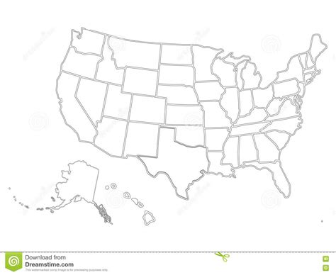 template of america blank similar usa map on white background united states