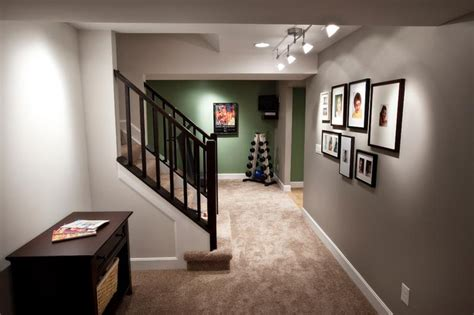 what colors go with grey walls 22 finished basement contemporary design ideas page 2 of 4