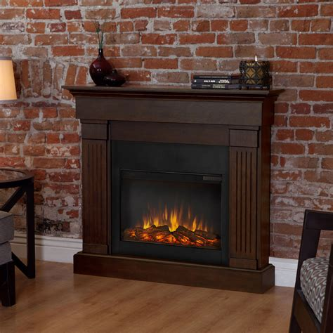 real looking electric fireplace shop real 47 4 in w 4 780 btu chestnut oak wood wall