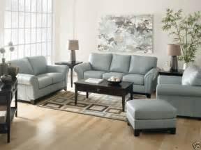 Blue Living Room Furniture Joyce Contemporary Blue Genuine Leather Sofa Set