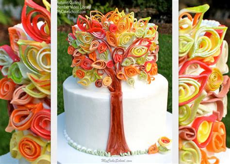 tutorial for quilling fondant quilling with fondant video an autumn cake my cake school
