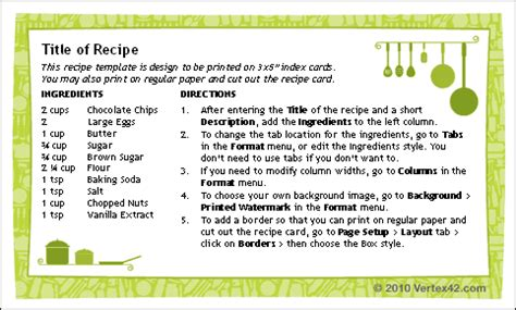 printable recipe cards 3x5 3x5 recipe card template free ms word template at home
