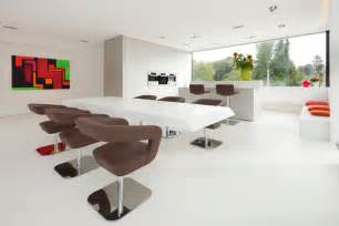 Restaurant Kitchen Furniture Delightful Modern White Kitchen With Dining Table Set