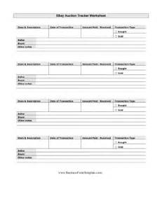 ebay auction worksheet template