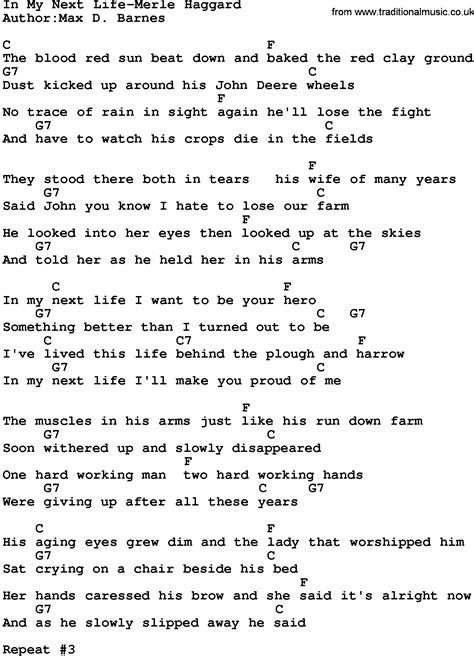 song in country in my next merle haggard lyrics and chords