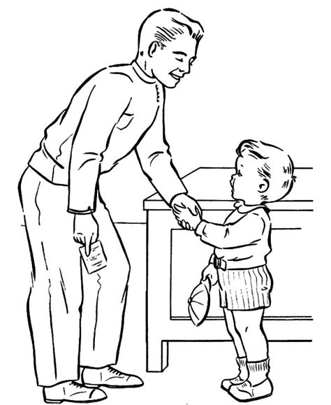 coloring page shaking hands read a book for his kid i love dad coloring pages read a