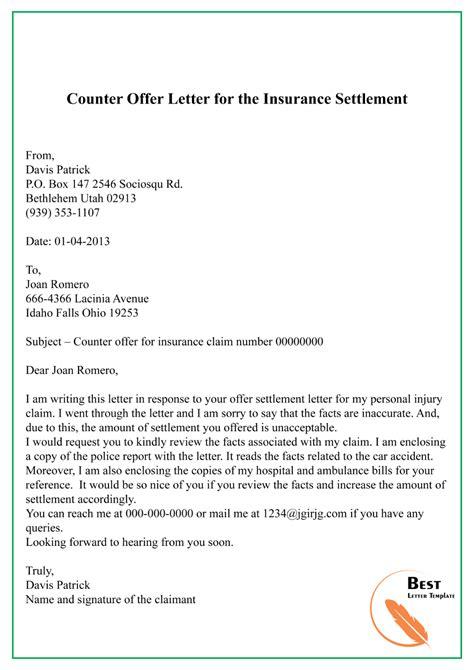 counter offer letter insurance settlement